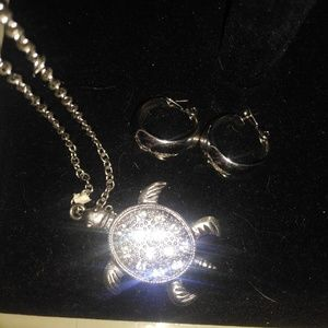 Silver tone turtle necklace & earrings set